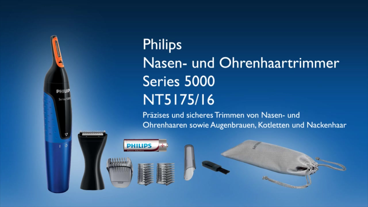 Philips NT517516 Series 5000 Ohr , Nasenhaartrimmer Blau, Schwarz