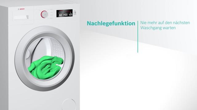 Bosch - Nachlegefunktion - Hinzufügen von Kleidungsstücken auch nach Start des Waschprogramms Video 3